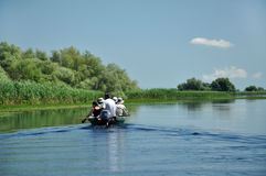 Tourists take boat trip in the Danube Delta Biosphere Reserve Royalty Free Stock Images