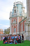 Tourists take a photo in Tsaritsyno park Royalty Free Stock Image