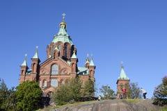 Tourists take photographs near uspenski cathedral in helsinki Stock Photo