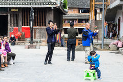 Tourists take photos of Dong Culture Show Royalty Free Stock Photos