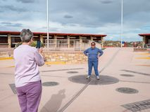 Tourists take photos at the Four Corners Monument where New Mexico, Utah, Arizona and Colorado meet stock images