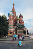 Tourists take photos of St. Basil Cathedral, Red Square, Moscow, Russia. Stock Photo