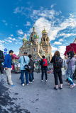 Tourists take pictures of the Church of the Savior on Blood Stock Photography