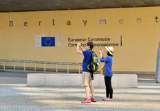 Tourists take pictures of European Commission headquarter Stock Photos
