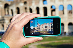 Tourists take pictures photo of Coliseum Royalty Free Stock Images