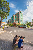 Tourists take pictures on the street in Ho Chi Minh City Stock Photography