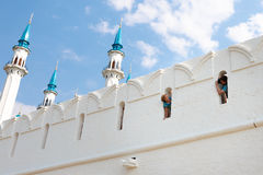 Tourists take pictures on wall Kazan Kremlin. 16 August, 2014  mosque Kul-Sharif, Kazan Kremlin,Kazan, Russia Stock Image