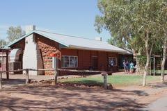 Tourists take a rest at Ebernezer Roadhouse, Lasseter Highway, Australia Stock Image