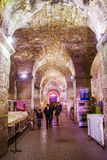 Tourists take a tour of the historic cellars of the Roman Emperor Diocletian in Split, Croatia Royalty Free Stock Photos