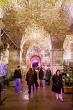 Tourists take a tour of the historic cellars of the Roman Emperor Diocletian in Split, Croatia Stock Photography