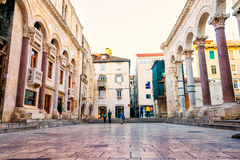 Tourists take a tour of the remains of palace of the Roman emperor Diocletian in Split, Croatia Stock Photo