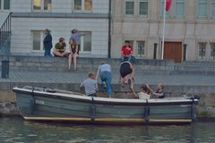 Tourists taking a boat-tour in gent Royalty Free Stock Images