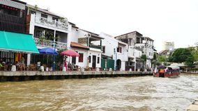 Tourists taking the Cruise Tour Boat to exploring the Malacca River. Malacca has been listed as a UNESCO World Heritage Site 2008. stock video footage
