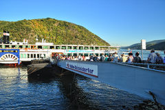 Tourists taking ferry for a trip on Mosel river Royalty Free Stock Photography