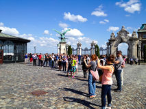 Tourists taking photos in Budapest Royalty Free Stock Photos
