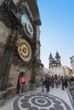 Tourists Taking Photos By Astronomical Clock In Pr Stock Images