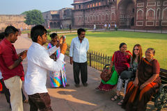 Tourists taking photos outside Jahangiri Mahal in Agra Fort, Utt Stock Photo