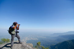 Tourists taking photos at Phu Luang Wildlife Sanctuary in Loei Royalty Free Stock Image
