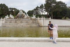 Tourists taking photos at Schönbrunn Royalty Free Stock Image