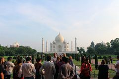 The tourists taking photos of Taj Mahal in a crowd. Taken in Agra, India, August 2018 stock images