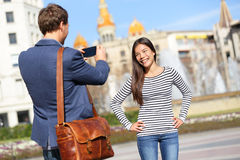 Tourists taking picture on travel in Barcelona Stock Photography