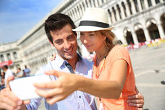 Tourists taking picture in Venice Royalty Free Stock Images