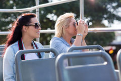 Tourists taking pictures bus Royalty Free Stock Photos