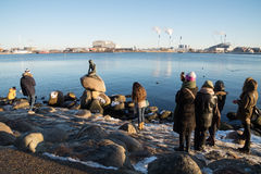 Tourists taking pictures of the Little Mermaid Statue, Copenhagen, Denmark Royalty Free Stock Image