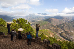 Tourists Taking Pictures at Lookout Stock Images