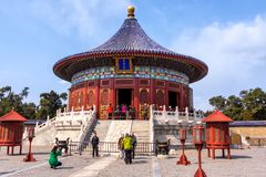 Tourists taking pictures and selfies in front of Temple of Heaven, Beijing stock photography
