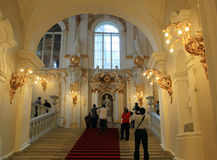 Tourists taking pictures on the stairs at the Hermitage Stock Images