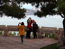 Tourists taking pictures on Xiaoyushan Hill Royalty Free Stock Photo
