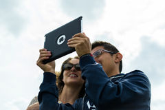 Tourists Taking a Selfie with Apple iPad Royalty Free Stock Photos