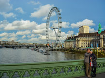 Tourists taking selfie in front of River Thames Stock Photos