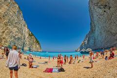 Tourists taking Selfie Shots in Navagio Bay, Zakinf Island, Greece Royalty Free Stock Photos