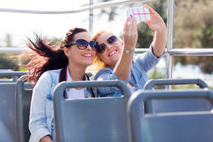 Tourists taking selfie Royalty Free Stock Photos