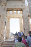 Tourists in Temple of Athena Nike. ATHENS, GREECE - OCTOBER 6 : Tourists sightseeing the ruins of the Temple of Athena Nike in the Acropolis of Athens on October Royalty Free Stock Photos