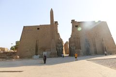 Tourists at Temple of Luxor - Egypt Royalty Free Stock Photography