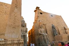 Tourists at Temple of Luxor - Egypt Stock Image