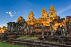 Tourists at temple ruins Royalty Free Stock Image
