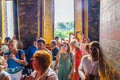 Tourists in the Temple Wat Pho Stock Image