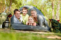 Tourists in tent Stock Photos