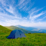 Tourists tent in mountain Stock Photography