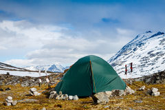 Tourists tent in the mountains Stock Images