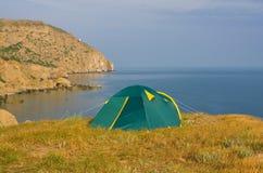 Tourists tent near sea Royalty Free Stock Photo