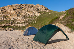Tourists tents in camp Royalty Free Stock Image