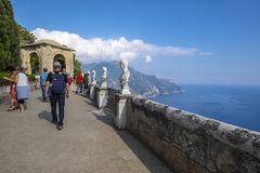Tourists on Terrace of Infinity in Villa Cimbrone. Tourists visiting the famous Villa Cimbrone in Ravello, Amalfi Coast, Italy Royalty Free Stock Images