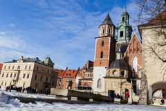Tourists in the territory of the Wawel castle. Royalty Free Stock Photos