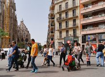 Tourists on their way to the La Sagrada Familia