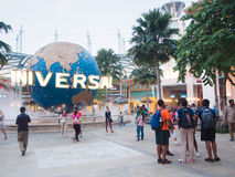 Tourists and theme park visitors in front of Universal Studios stock photo